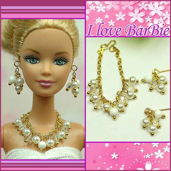 Handmade Jewelry for Barbie Necklace And Earrings Gold Chains and Beads