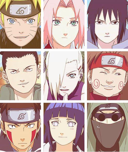 Naruto, Sakura, Sasuke, Shikamaru, Ino, Choji, Kiba