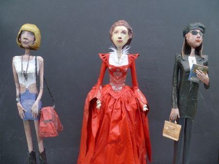 "Xenia Marita Riebe    ""...am I still the fairest for you all?"" - 2012    Newspaper + magnets    Vivian Ward (Pretty Woman): 60 x 12 x 6 cm  Anna Scott (Notting Hill): 60 x 12 x 6 cm  Bad Stepmother (Mirror,Mirror): 62 x 33 x 28 cm"