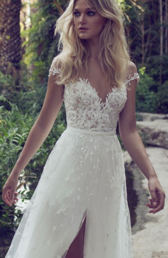 Embellished Off-the-Shoulder Slit Tulle Skirt Wedding Dress