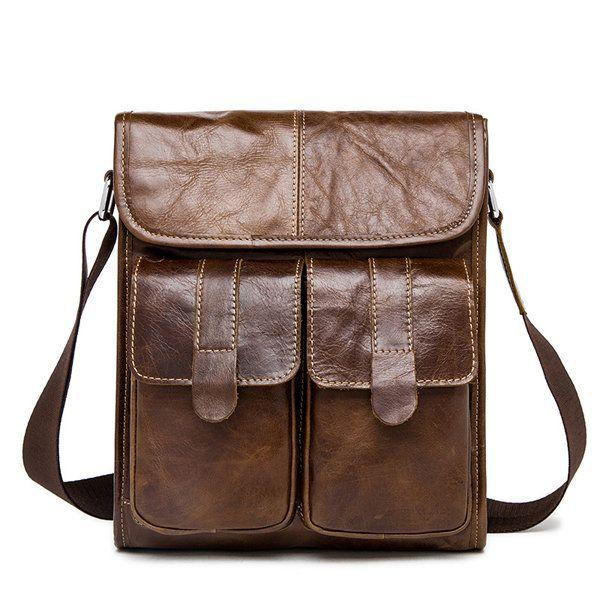 Vintage bolso de hombro de cuero genuino Bolsa de negocio sólido de crossbody para hombres [?]] Vintage bolso de hombro de cuero genuino Bolsa de negocio sólido de crossbody para hombres