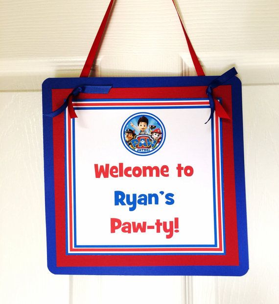 Paw Patrol Welcome sign by BerrySweetParties on Etsy, $10.00