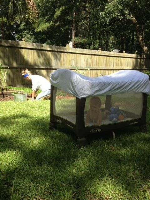 pack-play-outside-- crib sheet for extra coverage from sun and bugs