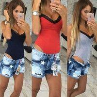 Wish | Hot Women Ladies Bodysuit Stretch Leotard Sleeveless Body Tops T shirt Jumpsuit