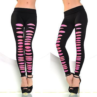 Sexy Damen Party Risse Look Leggings Legging schwarz Pink bequem Stretch XS - L in Kleidung & Accessoires, Damenmode, Leggings | eBay