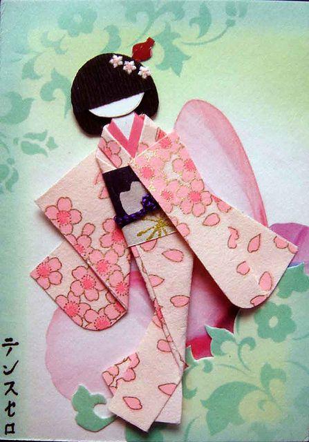 Poupées japonaises en papier et tissu