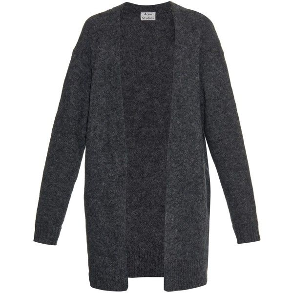 Acne Studios Raya mohair and wool-blend oversized cardigan found on Polyvore featuring tops, cardigans, outerwear, jackets, sweaters, dark grey, dark grey cardigan, oversized tops, oversized cardigan and oversized summer cardigan