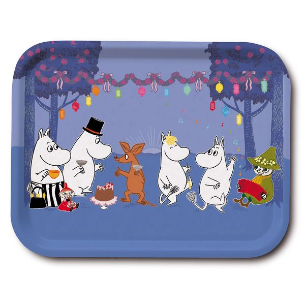 Delightful blue tray featuring the Moominfamily having a party in beautiful colors. Brings joy to your home with it's lovely colors. The tray is handmade with a classic motif taken from Tove Jansson's original drawings. High quality wood, made in Sweden. Suitable for dishwasher.
