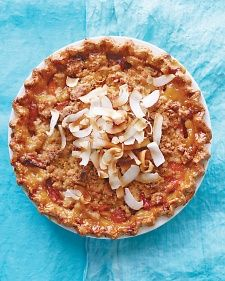 A coconut crumble offsets this tart apricot filling. The topping browns quickly because of the sugar in the coconut, so tent it with foil after 30 minutes to avoid burning.