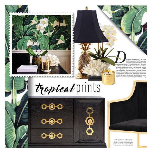 Tropical Glam by lilith1521 on Polyvore featuring interior, interiors, interior design, home, home decor, interior decorating, Jonathan Adler, Universal Lighting and Decor, Williams-Sonoma and Tom Dixon