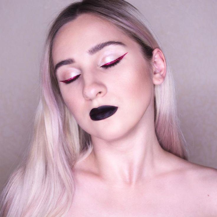 Red eyeliner black lips makeup