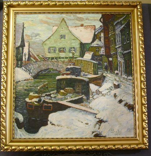 Gemälde Öl 1924 signiert E. Knobel Winterbild Impressionismus Kahn im Dorf mit Brücke, signed and dated oil painting German impressionistic winter canal scene