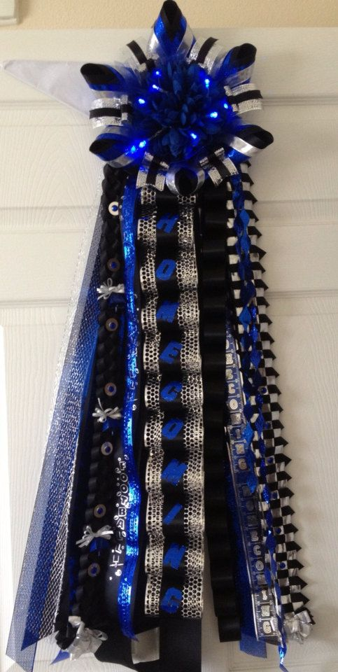 Homecoming Mum Black Blue with Lights Ready To Ship by MumAMia3