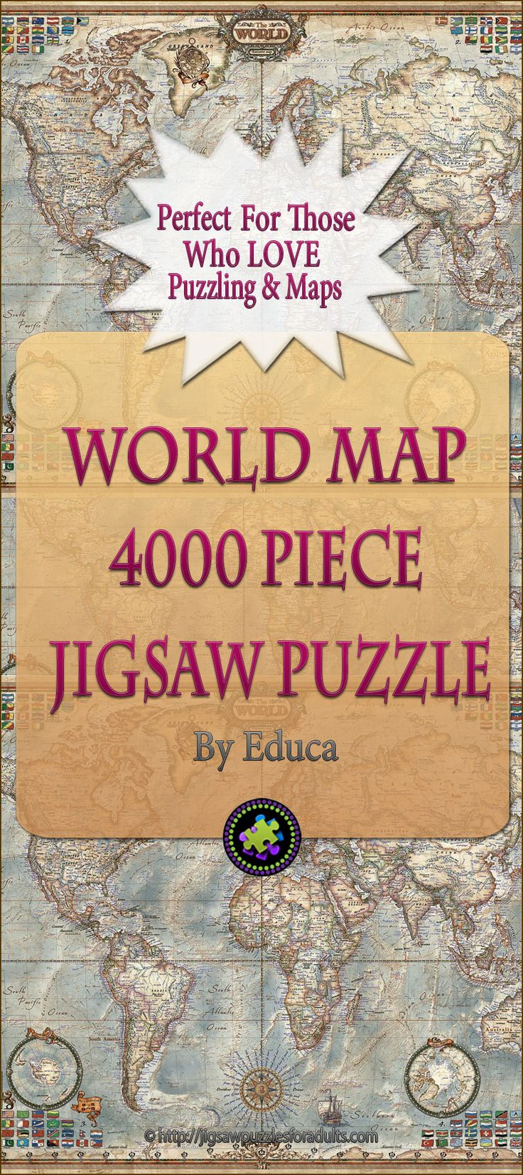 This 4000 piece puzzle world map by Educa is not only challenging, it fun and educational! It's the perfect for anyone who loves maps and puzzling. This world map is not just beautiful it's informative with an excellent amount of detail.