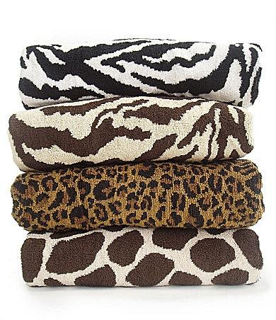 Leopard bath towels for master bath