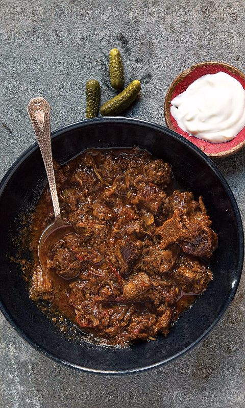 This stew is made with a generous amount of paprika and cooked down until the meat is fork-tender and the sauce thick and hearty. Unlike other spices, Hungarian paprika powder should not be fried in the cooking oil.