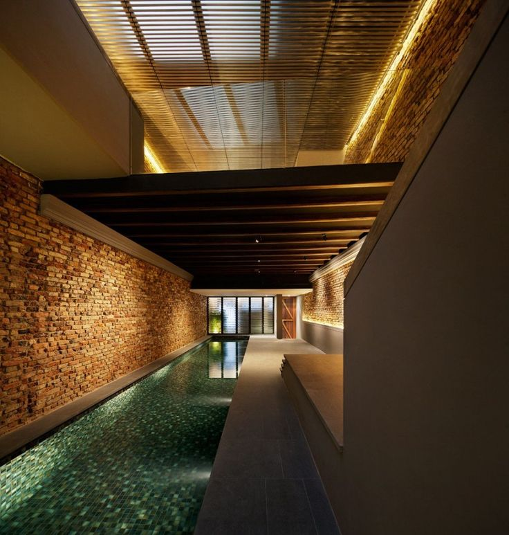 Cool Home Construction Design With Indoor Swimming Pool: Minimalist Long  Narrowed The Pool Shophouse Indoor