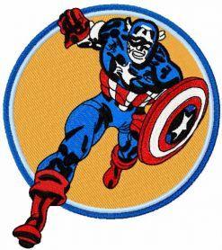 Captain America attack machine embroidery design. Machine embroidery design. www.embroideres.com