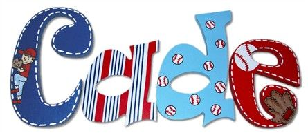Decorate your baby boy's nursery or kid's room with these Cade Baseball Hand Painted Wall Letters!  This set of kid's wall letters features a baseball themed motif and bold stripes
