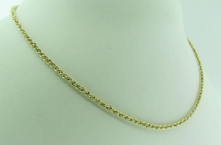 """14 K yellow gold 19"""" long rope chain. by VintageJewelryBazaar on Etsy"""