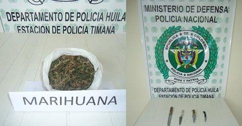 Policía de Timaná realizó incautación de drogas y armas blancas