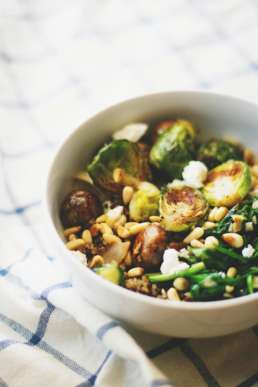 Quinoa Bowl with cheese & roasted veggies. The website isn't a recipe...