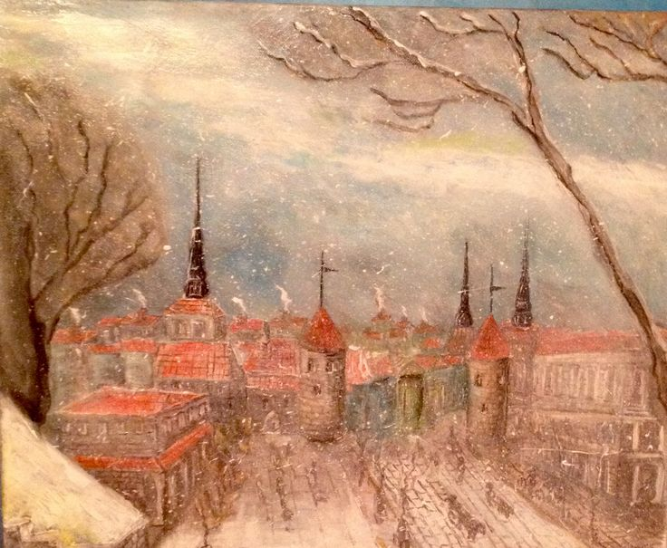 Old Tallinn Estee, snowy day Acrylic over canvas  Private collection