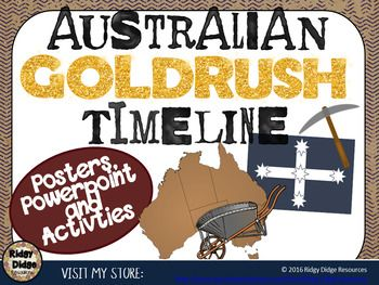 Australian Goldrush timeline and student activities - 17 events that shaped the Goldrush era in Australia and activities to support this study of this subject in your classroom.