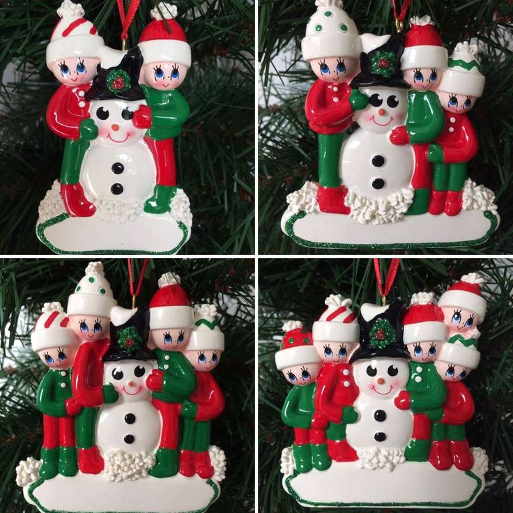Making a Snowman Family Hand Personalised Christmas Tree Decoration for 2, 3, 4 & 5 names.