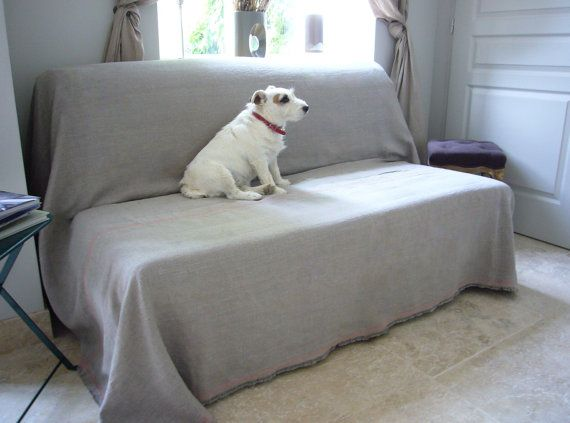 Linen couch cover Sandy pet couch cover large by LinenCrafts