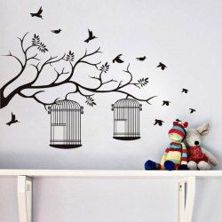Fashion Branch And Birdcage Pattern Wall Sticker For Bedroom Livingroom  Decoration   Black Part 37