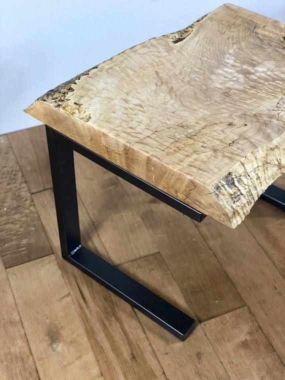 This One Of A Kind Live Edge Wood Table Is Handcrafted From A Solid 3 Thick Piece Of Quilted Maple The Live Edge Wood Table Modern Side Table Rustic Furniture