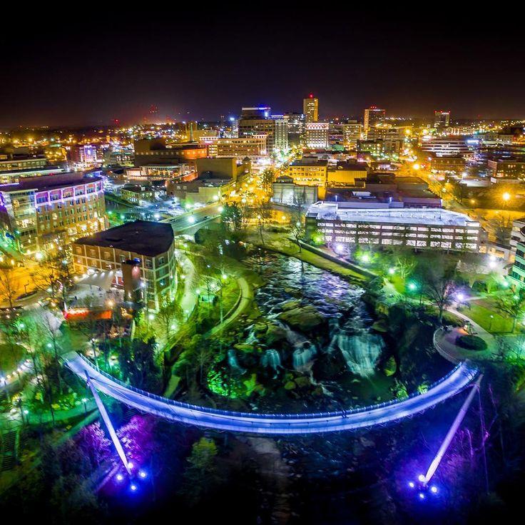 Greenville, South Carolina by night. Photo by martinwojenek // yeahTHATgreenville