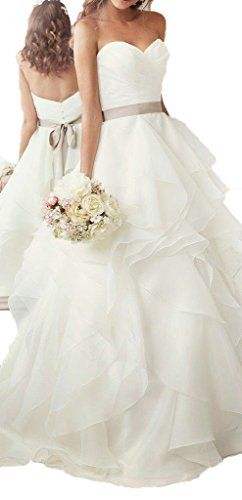 Blevla Sweetheart Layered Skirt Organza Wedding Bridal Dresses Ivory US 8 -- Check out the image by visiting the link.