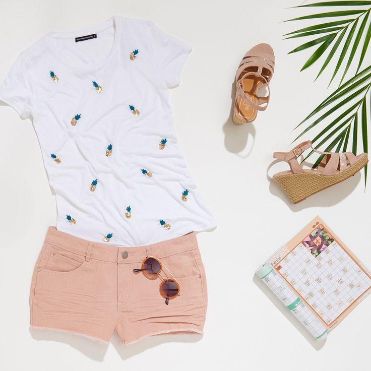 tenue de plage femme t shirt ananas short rose poudr. Black Bedroom Furniture Sets. Home Design Ideas