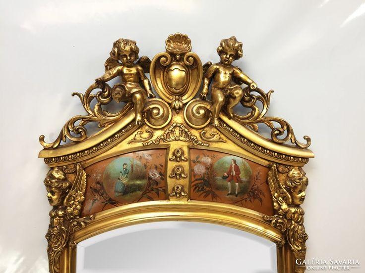 Angyal szobros, aranyozott antik kastély tükör konzolasztalá