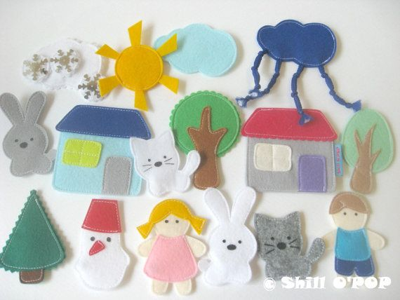 Felt Magnetic Toy Set. With this PDF Pattern you can make more than 16 magnetic felt toys: trees, houses, dolls, animals and weather types. This Felt Magnetic Toy Set is great for imaginative play, telling stories. They all fit into a small tin box, handy for bringing along on trips! This listing is for PDF pattern, NOT the finished product.  You will receive full size printable pattern in PDF format.  Free How To make this toy at http://en.shillopop.com/how-to-make-felt-magnet...