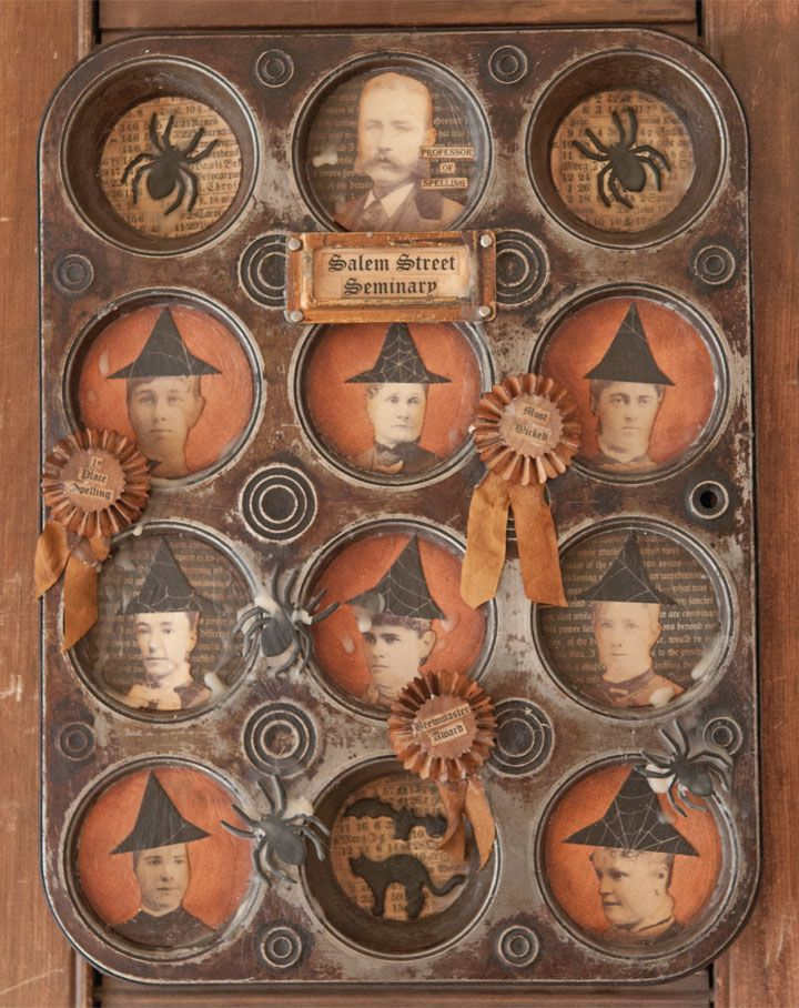This altered muffin tin by Chris Raissis uses old cabinet photographs with a fun twist.