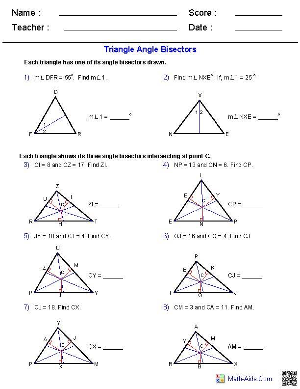 angle bisectors worksheets geometry notebook pinterest. Black Bedroom Furniture Sets. Home Design Ideas