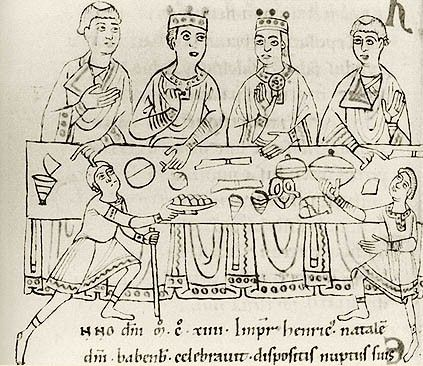 Twelfth-century portrayal of the wedding feast of Matilda and her first husband, Emperor Heinrich V of Germany.