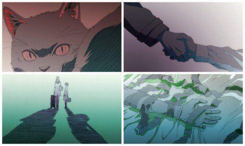 Yukine's childhood memories being transmitted to Yato in Noragami episode 2.