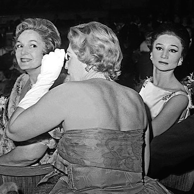 """H.H. The Begum Aga Khan III and Jacqueline, Vicomtesse de Ribes attend the premiere of """"Sleeping Beauty"""" produced by the Marquis de Cuevas in Paris, 1960.  #Begum #Yvette #AgaKhan #Princess #Orient #JacquelinedeRibes #Viscountess #Paris #ballet #Cuevas #SleepingBeauty #BriarRose #premiere #OnceUponATime #history #cafesociety"""