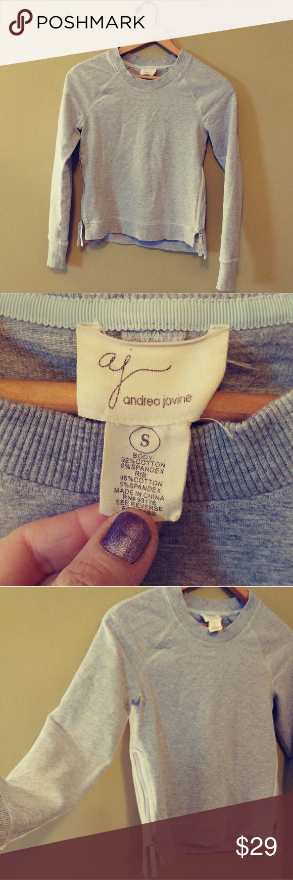 ANDREA JOVINE SWEATSHIRT WITH SIDE ZIPPERS Preloved, good condition, super soft, cute and stretchy. Reference I'm 5'6 135 lbs. Feel free to ask any questions BUNDLE FOR BETTER DISCOUNT Andrea Jovine Tops Sweatshirts & Hoodies
