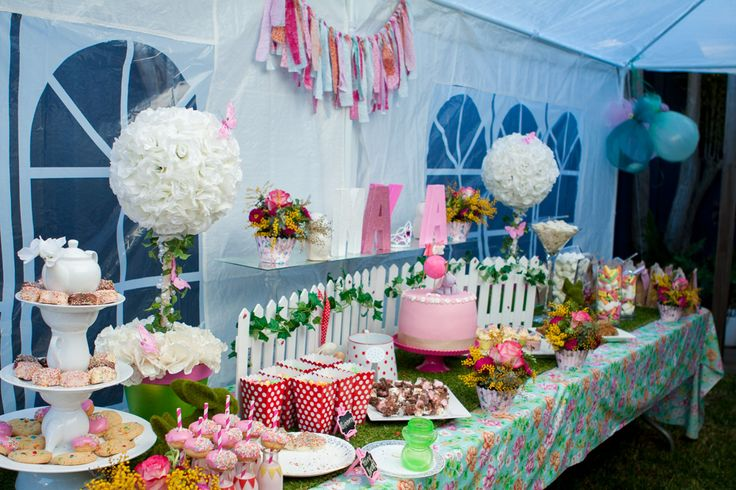 Garden party table setting (cake table/dessert table/lolly bar) for my daughter Maya's first birthday (styled by Leah Bischoff)