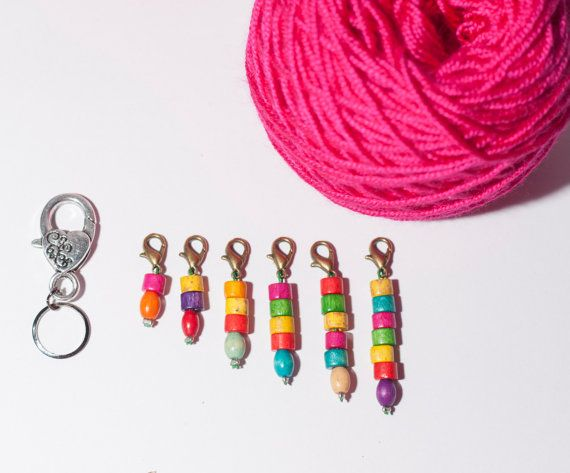 Crochet stitch markers - handmade removable stitch markers, set of six stitch markers, colorful beads markers, with small holder - clip hook