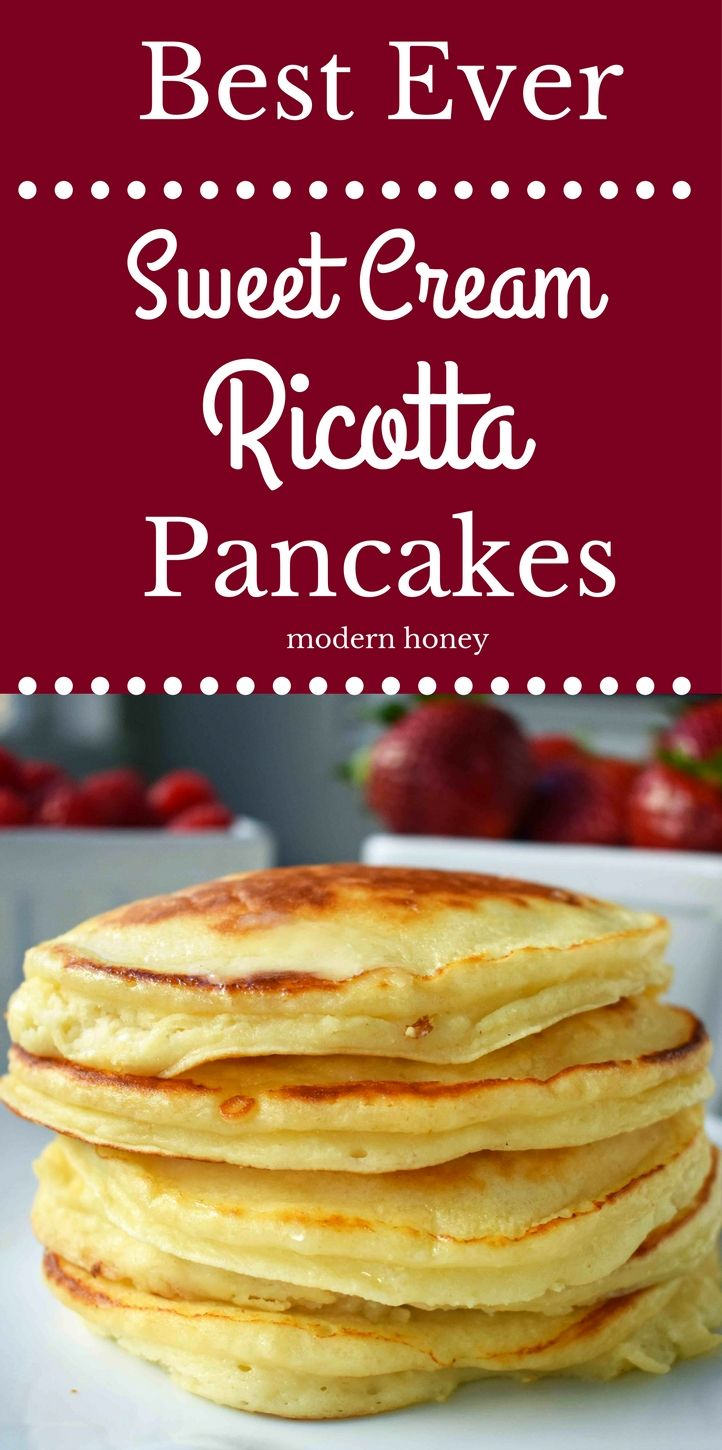 Best Ever Sweet Cream Ricotta Pancakes. Creamy, sweet, fluffy pancakes made with ricotta cheese. Easy, one bowl pancakes made in less than 5 minutes. Melt in your mouth ricotta pancakes. www.modernhoney.com