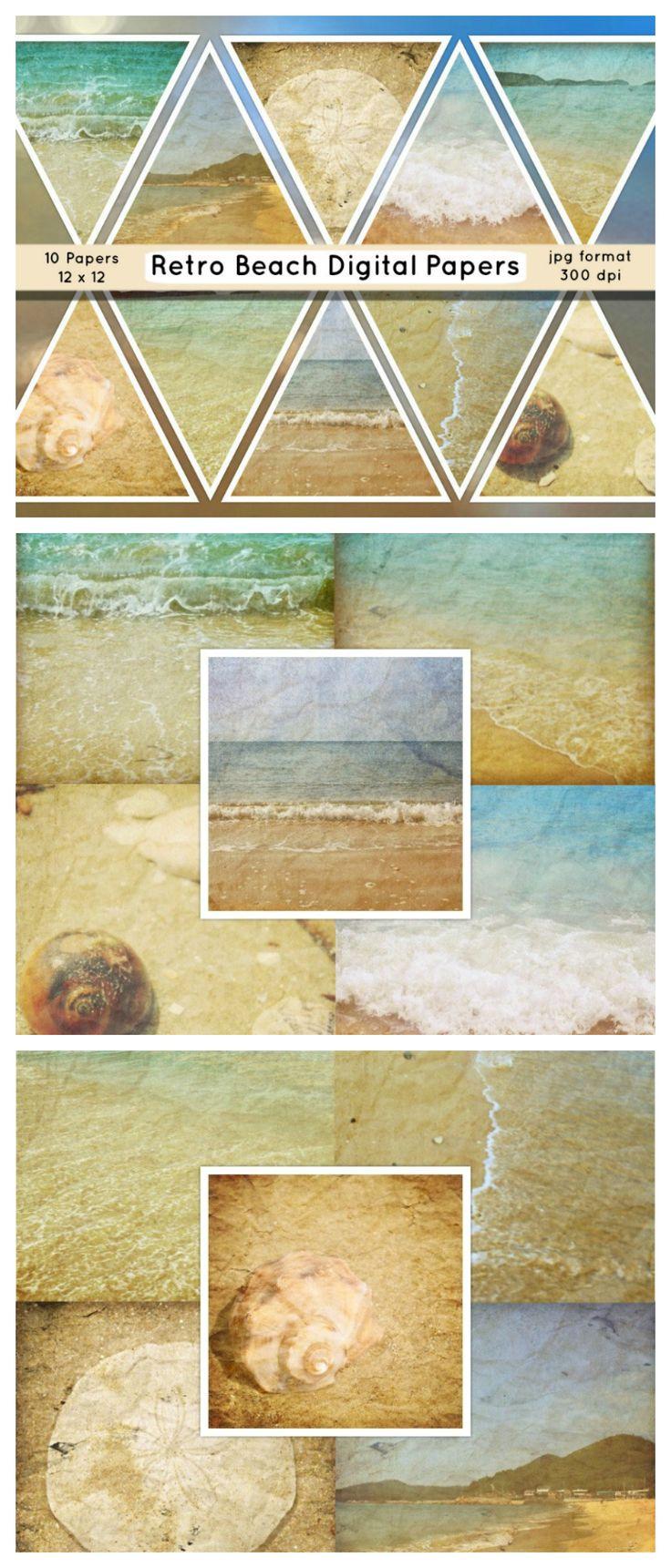 Scrapbook paper england - Beach Digital Paper Beach Photo Backdrops Paper Beach Texture Digital Paper Retro Beach Paper Beach Scrapbooking Papers Commercial