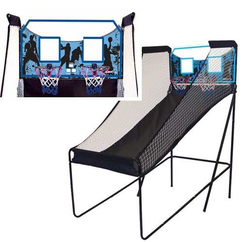 Spalding Dual Shot Electronic Basketball Game. Arcade-style electronic basketball hoop for 1 or 2 players. Tests your shooting prowess against 60-second timer. Electronic scoring system with dual display