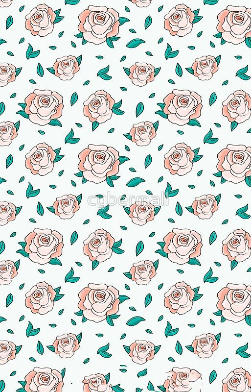 Pattern Hand Drawing Roses Leaves