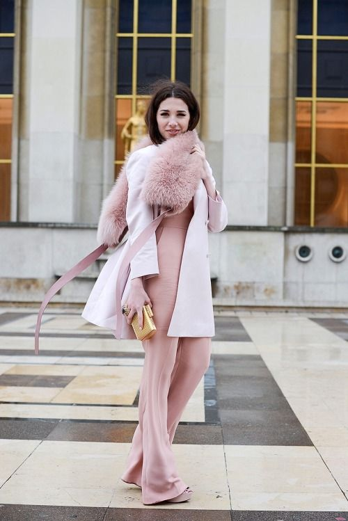 Pastels in street style. In the pink at Paris Couture Week 2015.